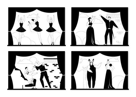 Opera and ballet theater set isolated scenes