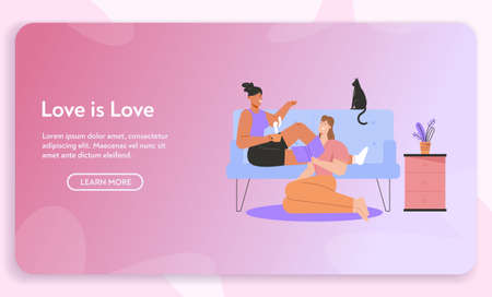 Vector banner of Love is love concept Illustration