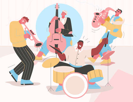 Jazz band playing music at festival, concert or perform on stage Vettoriali