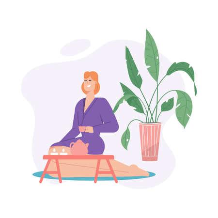 Happy woman in bathrobe drinking tea and relaxing in spa salon Illusztráció