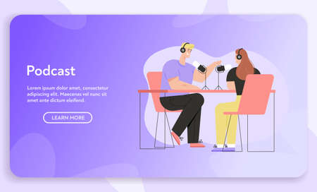 Vector banner of Podcast concept