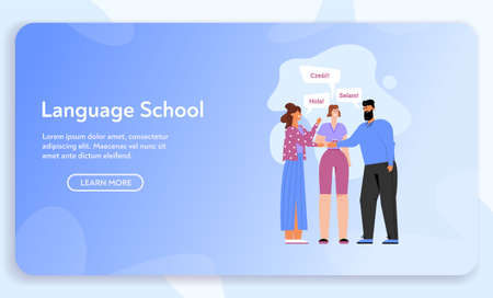 Vector banner of Language School concept 矢量图像