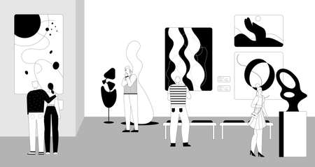 People watching exhibition of contemporary abstract painting Vector Illustration