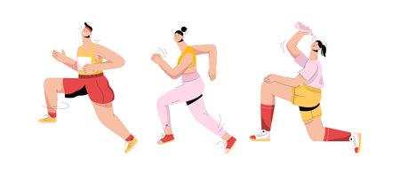 Group of people running marathon