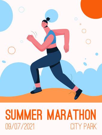 Vector poster of Summer Marathon at city park concept