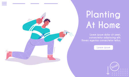 Vector landing page of Planting at Home concept