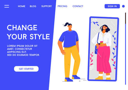 Vector landing page of Change Your Style concept