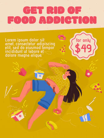 Vector poster of Get Rid of Food Addiction concept