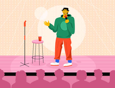 Professional comedian performing in stand up show at stage