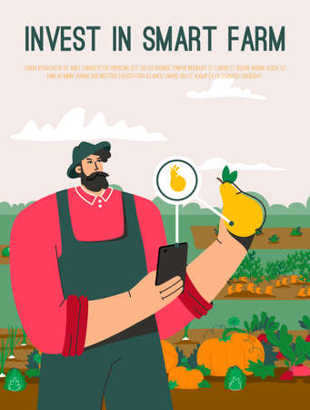 Vector poster of Invest in Smart Farm concept