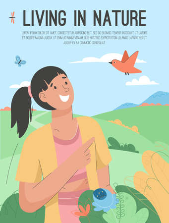 Vector poster of Living in Nature concept
