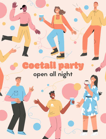 Vector poster of Cocktail Party Open all Night concept