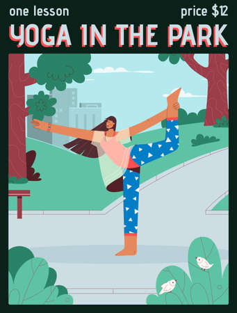 Vector poster of Yoga in the Park concept Illustration
