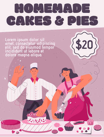 Vector poster of Homemade Cakes and Pies concept Illustration