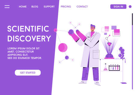 Vector landing page of Scientific Discovery concept