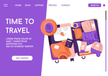 Vector landing page of Time to Travel concept