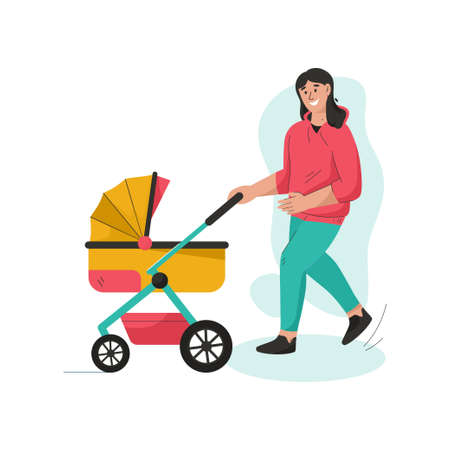 Young mother walking with newborn baby in stroller
