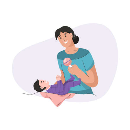 Young mother playing toy with her newborn baby