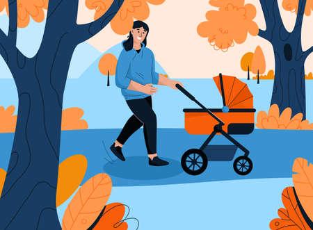 Happy mother walking with newborn baby in stroller