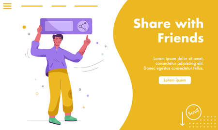 Vector landing page of Share with friends concept Illusztráció