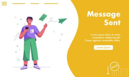 Vector landing page of Message sent concept Illusztráció