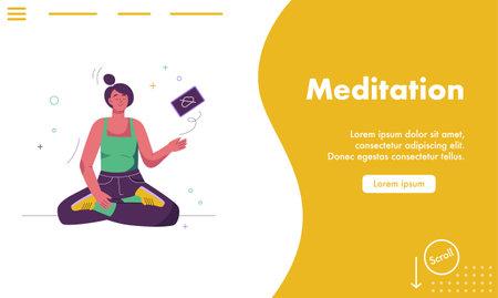 Vector landing page of Meditation concept Illusztráció
