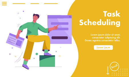 Vector landing page of Tasks scheduling concept
