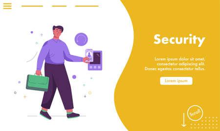 Vector landing page of Security concept Illusztráció