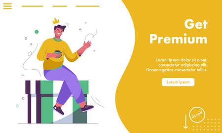 Vector landing page of Get premium concept 矢量图像