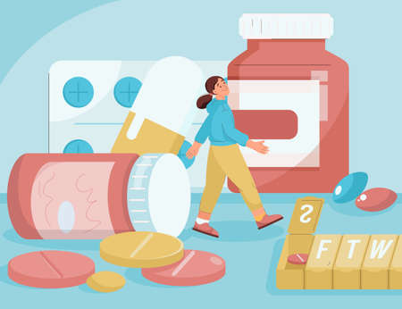 Medicines in pharmacy concept. Woman walks among huge medications Illusztráció