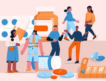 Medicines in pharmacy concept. Women and men walks among huge bottles Illusztráció