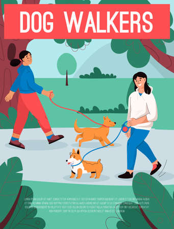 Vector poster of Dog Walkers concept. Female owners with pets Illusztráció