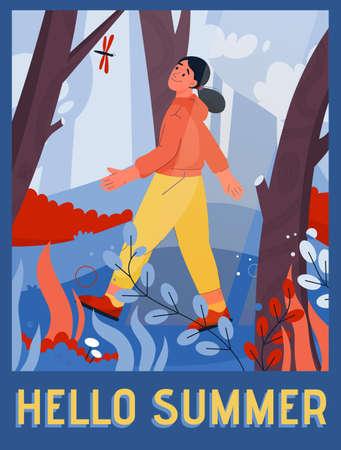 Vector poster of Hello Summer concept