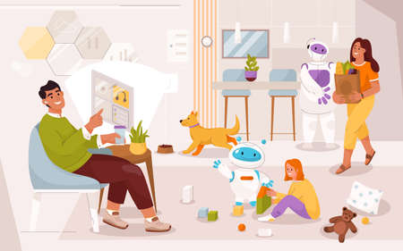 Family lives in smart home with robotic assistants