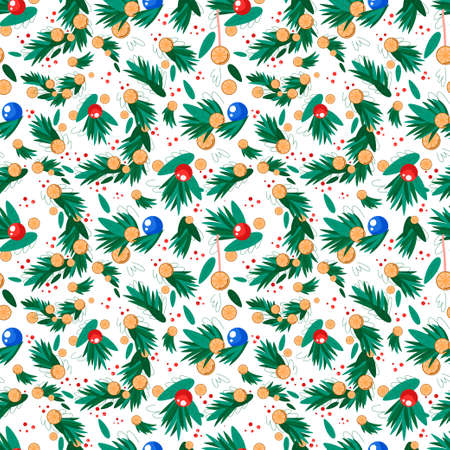 Vector seamless pattern with Christmas elements