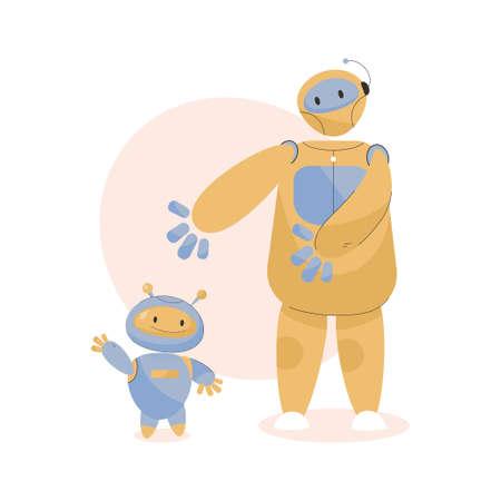 Two cute robots assistants. Robotic machines with artificial intelligence Illusztráció