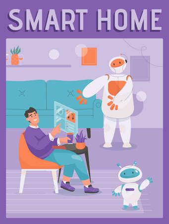 Vector poster of Smart Home concept. Robot assistant helping Illusztráció