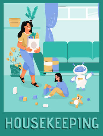 Vector poster of Housekeeping concept. Cozy smart home