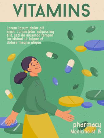 Vector poster of Vitamins concept. Healthcare, diet nourishment, drug store