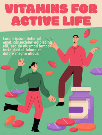 Vector poster of Vitamins for Active Life concept