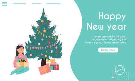 Vector landing page of Happy New Year concept
