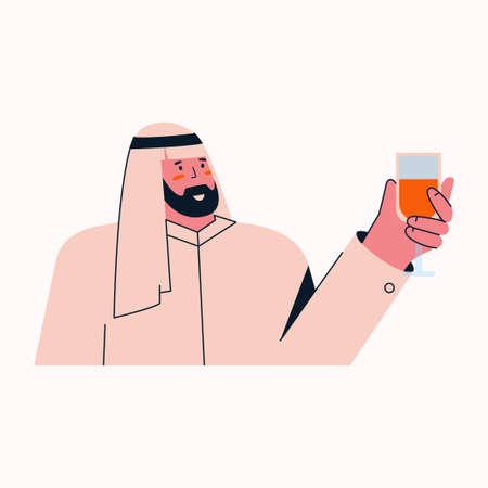 Portrait of arab muslim man in traditional dress raising glass Illusztráció