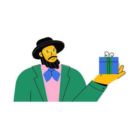 Portrait of Jew with beard wearing hat and glasses giving gift