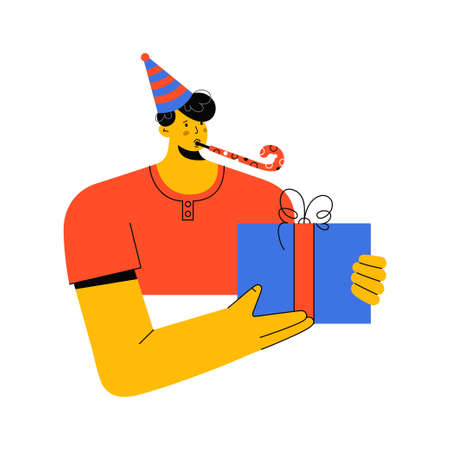 Portrait of man in cap with party blowout giving gift