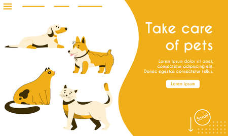 Vector landing page of Take Care of Pets concept