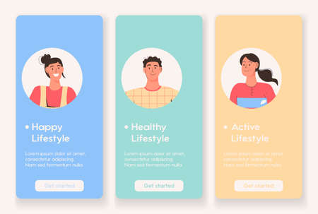 Mobile app page with Happy, Healthy and Active Lifestyle