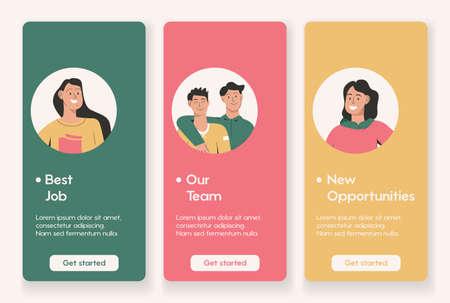 Template design for mobile app page with Best Job Illusztráció