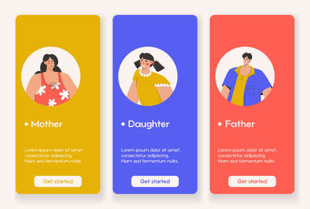 Template design for mobile app page with Family concept