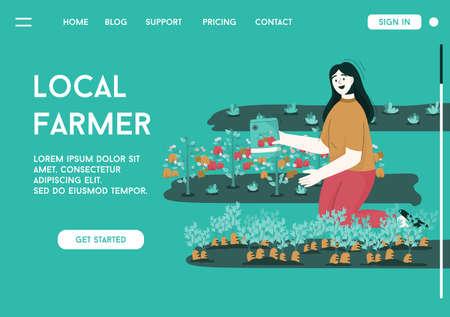 Vector landing page of Local Farmer concept