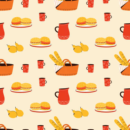 Vector seamless pattern with foods elements